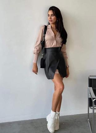 Бежевая рубашка, платье рубашка, кожаная юбка с рубашкой
