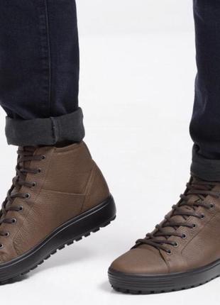 Зимние, мужские, кожаные ботинки ecco soft 7 tred m