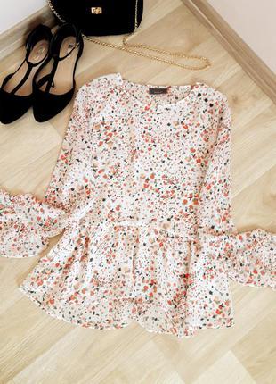 Блузка кофточка футболка рубашка майка цветочный принт рукав валан zara h&m bershka primark asos next mango