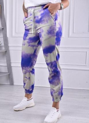 Женские штаны, спортивные штаны, штаны тай дай, штаны на резинке