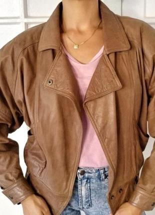 Куртка/бомбер натуральная кожа винтаж объёмное плечо