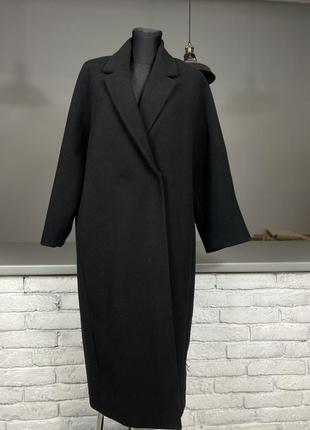 Чорне пальто пальто оверсайс чёрное пальто на пуговице