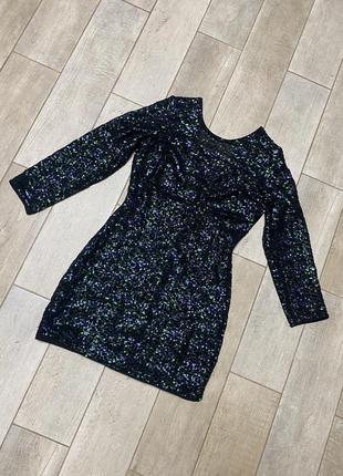Чёрное мини платье в пайетках,вечернее платье(15)