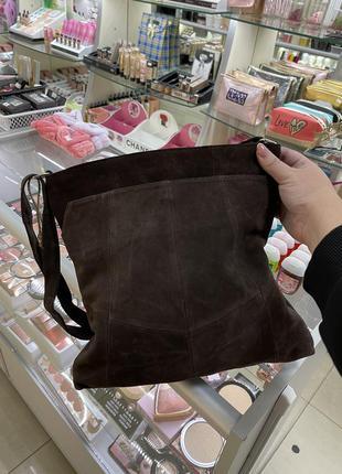 Сумка-шопер замшевая женская сумочка коричневая через плечо шопер