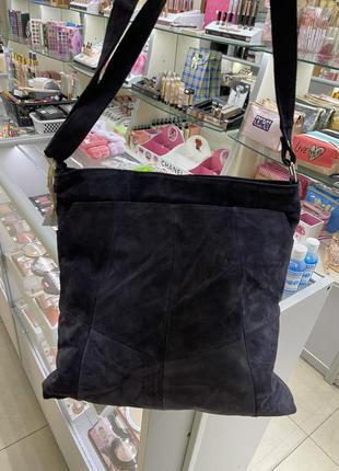 Женская замшевая сумка шопер сумка-шопер натуральный замш синяя синий