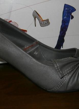 Стильные женские туфли темно-серого цвета р 36, 37