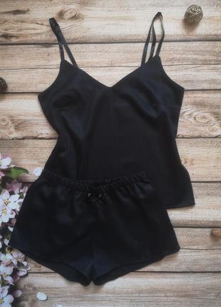 Сатиновая пижамка. черная пижама. комплект для сна.пижамные шортики