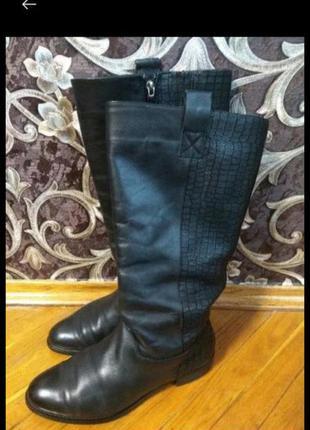 Высокие кожаные сапоги на широкую ногу,шкіряні сапоги,сапожки кожаные