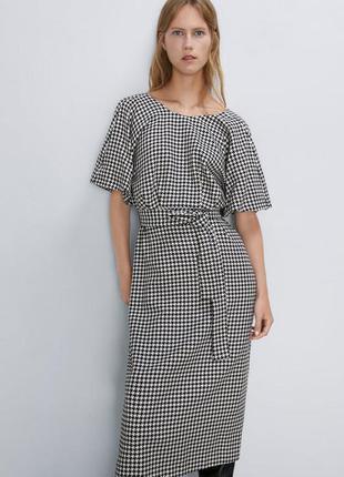 Шикарное платье в гусиную лапку zara  новых коллекций