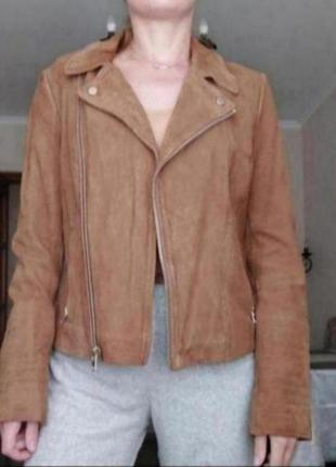 Куртка косуха кожаная щамшевая натуральная коричневая
