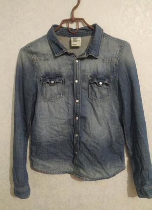 Джинсовая рубашка, джинсовая блузка h&m