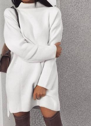 Платье - туника на флисе белое — 290 грн