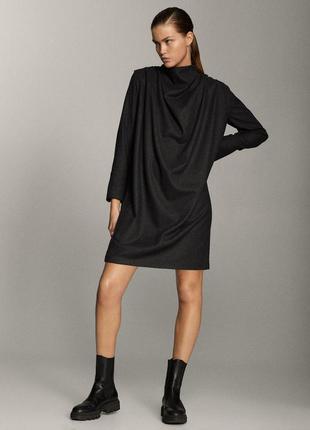 Massimo dutti шерстяное тёплое платье прямого кроя
