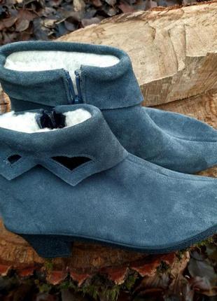 Ботинки замшевые на меху франция