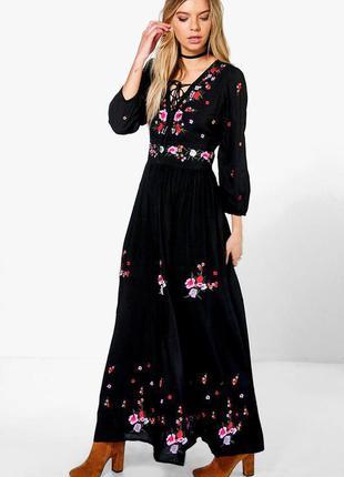 Новое с биркой платье макси с вышивкой boohoo размер 10/12
