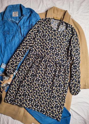 Зара платье чёрное в цветочный принт свободное оверсайз с длинным рукавом