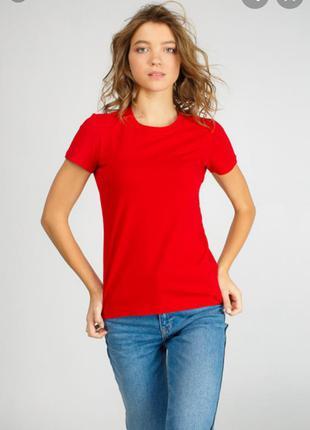 Женская красная футболка размер 38 //м хлопок