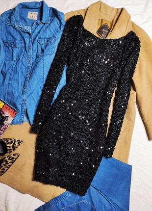 Quiz платье чёрное с вырезом на спине по фигуре карандаш футляр с пайетками новое