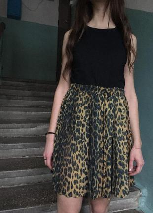 Леопардовая юбка river island плиссировка