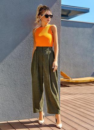 Демисезонные вельветовые брюки свободные высокие широкие