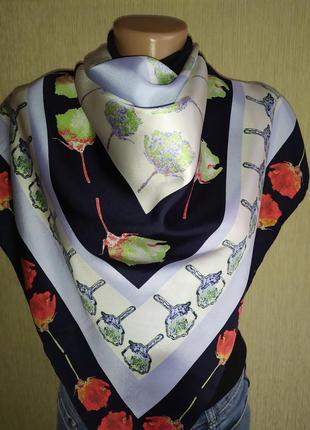 Роскошный фирменный платок из натурального шелка, шов роуль, поп-арт