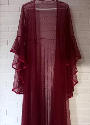 Эротическое белье, сексуальный прозрачный халат кимоно, длинный халат в пол