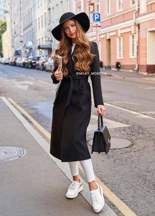 Черное осеннее весеннее пальто под пояс с поясом длинное кашемировое однотонное на подкладке