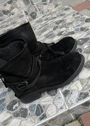 Зимние замшевые ботинки италия made in italy черевики замшеві