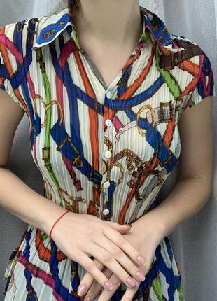 Винтажная плиссированная блуза винтаж