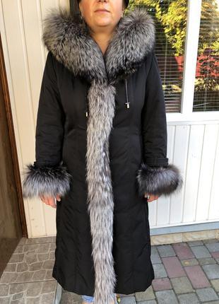 Новое зимнее пальто кролик чернобурка шуба