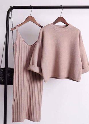 Комплект платье + свитер, кашемир костюм