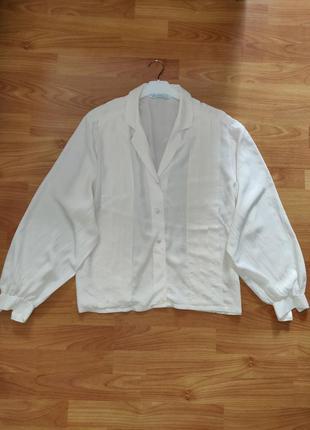 Винтажная шелковая блуза рубашка с объемными рукавами 100% натуральный шелк