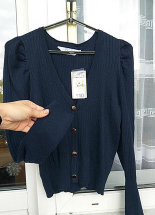 Primark красивый свитерок/кардиган в рубчик тёмно-синего цвета zara oysho.