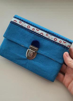 Синий, голубой текстильный кошелек