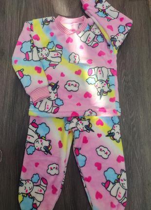Теплая махровая пижама для девочки единорожки