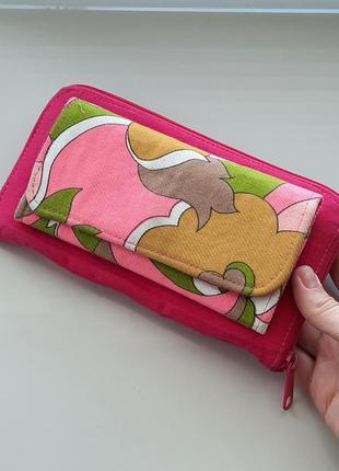 Розовый, разноцветный текстильный большой кошелёк, портмоне