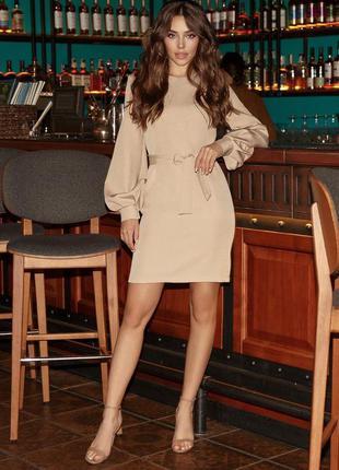 Бежевое платье, платье с пышными рукавами, платье миди , платье 44 размер