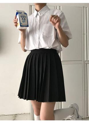 🔥 юбка в складку школьная черная, серая не заштопана легкая короткая классическая мини трендовая