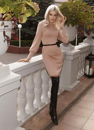 Теплое платье 44 размер, платье из ангоры, бежевое платье