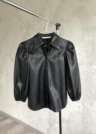 Рубашка кожаная zara пиджак куртка экокожа