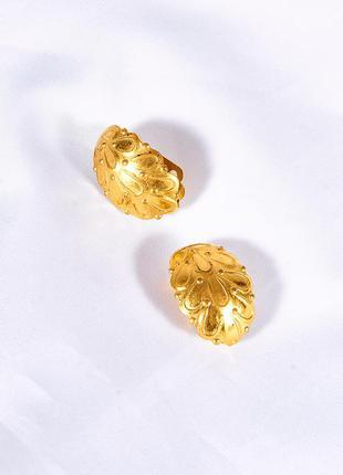 Винтажные серьги-клипсы, золотистые серьги женские, маленькие сережки