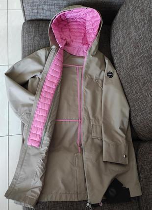 Новая куртка colmar италия хлопок лёгкая парка плащ вертовка бежевая с розовым