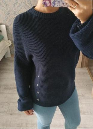 Стильный теплый свитер с рукавами фонариками