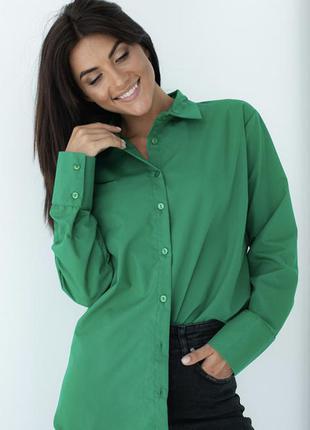 Рубашка с перламутровыми пуговицами / сорочка класична зелена