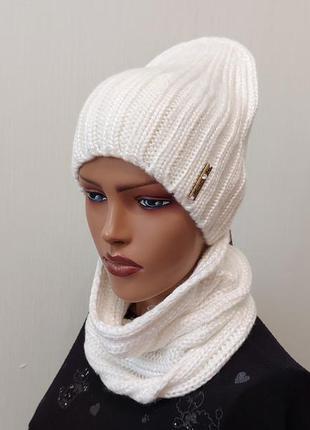 Классный комплект шапка и бафф 56-58 белый