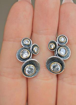 Серебряные серьги орбита