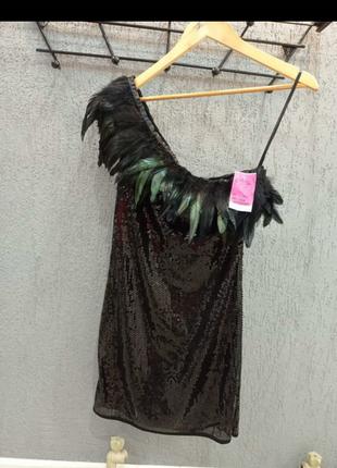 Платье черное коктейльное пайетки размер l