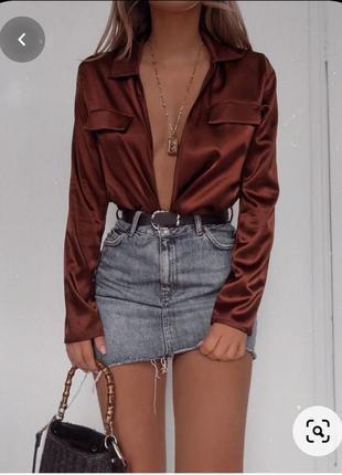 Распродажа 🎈стильная нюдовая атласная рубашка в бельевом пижамном стиле 975