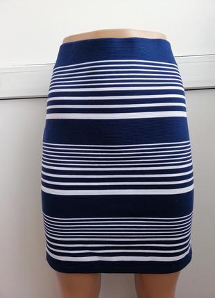 Юбка мини женская синяя белая в полосочку
