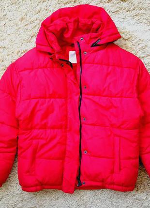 Красная куртка next осенняя утепленная
